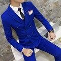 Azul Royal Terno Breasted Dobro Plus Size 3xl 4XL Sólida cor preto vermelho amarelo orange cinza terno do casamento do noivo traje terno