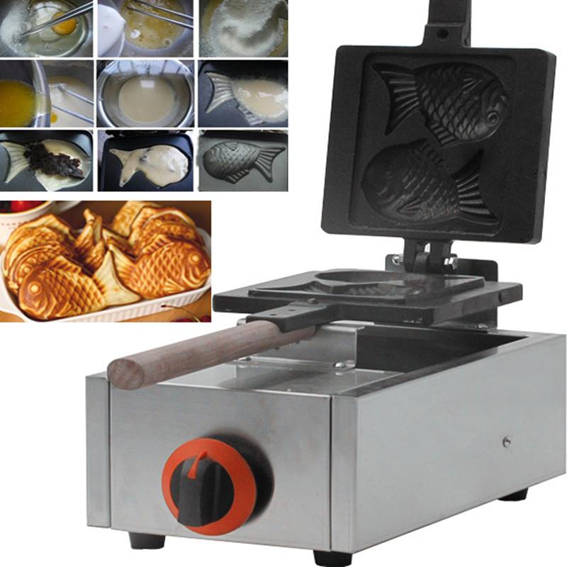 Gas Commercial 2Pcs Fish Waffle Taiyaki Fish machine Non-stick Waffle Iron Baker Stainless Steel Bread Baker Red Bean hot sale 6pcs taiyaki commercial use non stick lpg gas fish waffle maker iron machine baker