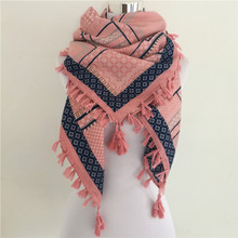 Hot sale bandana new fashion woman Scarf square scarves Printed Women Wraps Winter autumn ladies shawl Luxury Brand tassel scarf