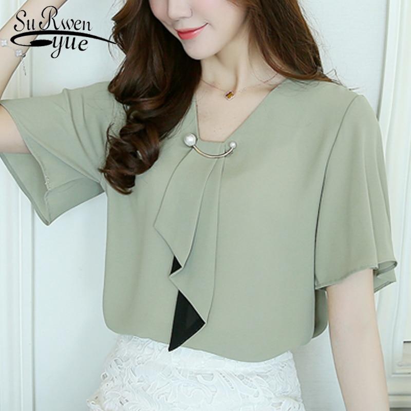 2019 fashion chiffon women tops   blouse     shirt   short sleeve plus size women's clothing v-neck women   shirts     blouse   blusas D560 30