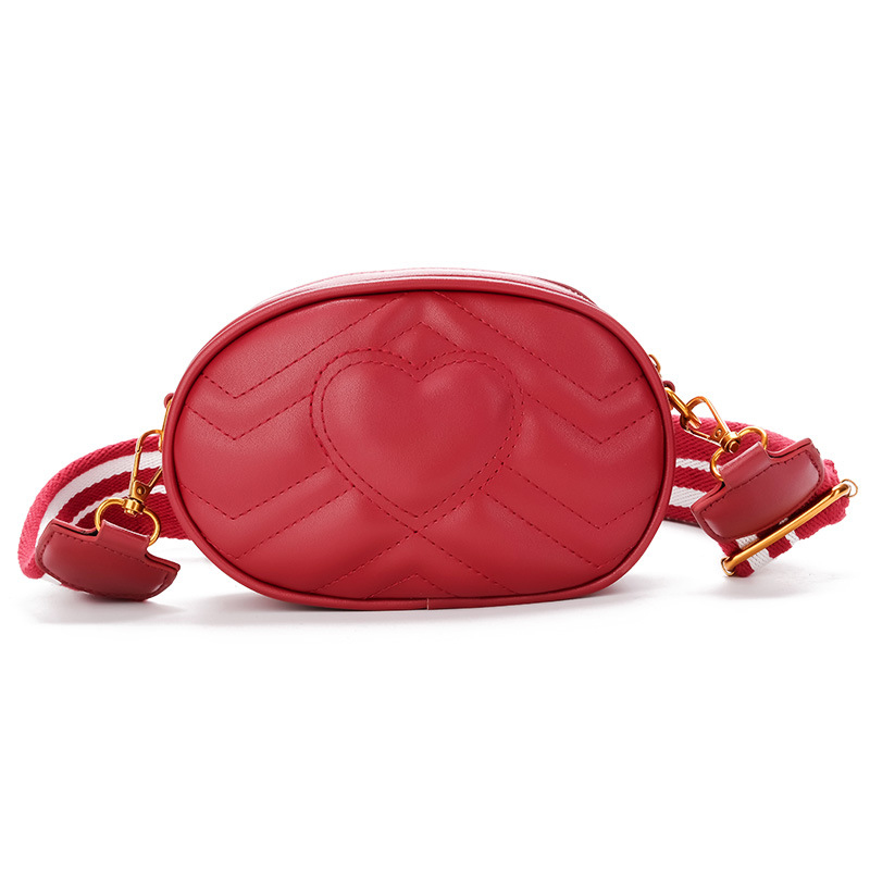Small Oval Message Bag PU Leather Female Waist Bags Fashion Wide Shoulder straps Multifunction For Girls