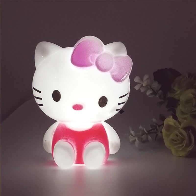 AC110V-220V Мини мультфильм hello kitty Светодиодный Ночник с США вилка ребенок подарок украшение для детской спальни прикроватная лампа