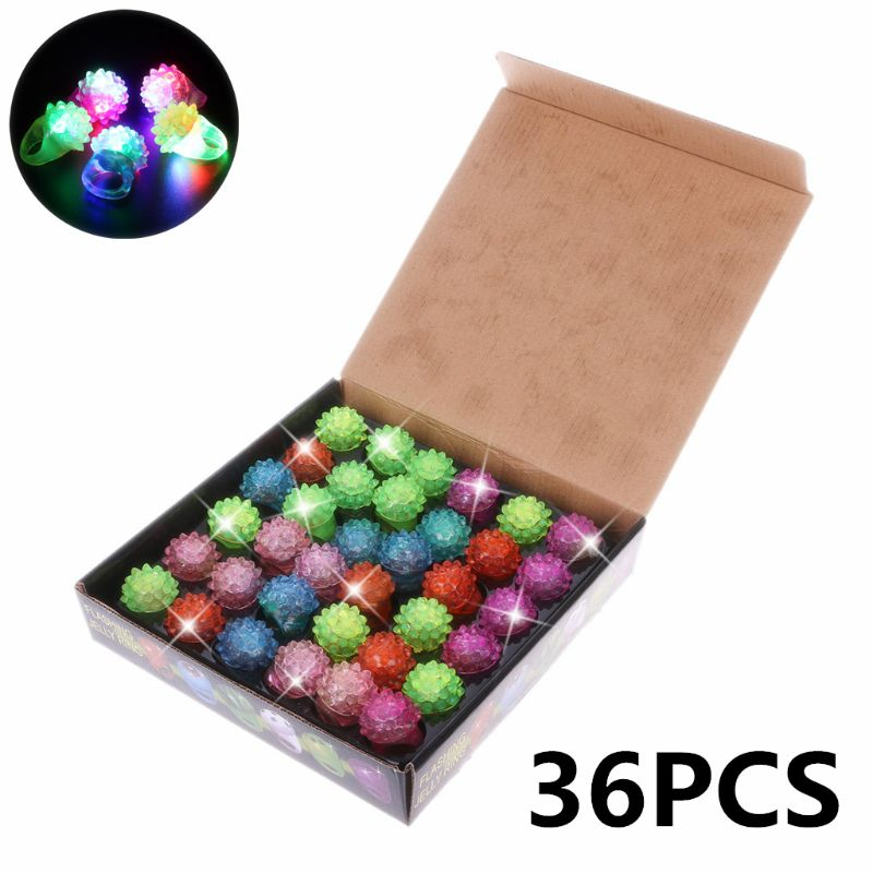 36pcs Strawberry Flashing LED Light Up Toys Bumpy Rings Party Favors Supplies Glow Jelly Blinking Bulk