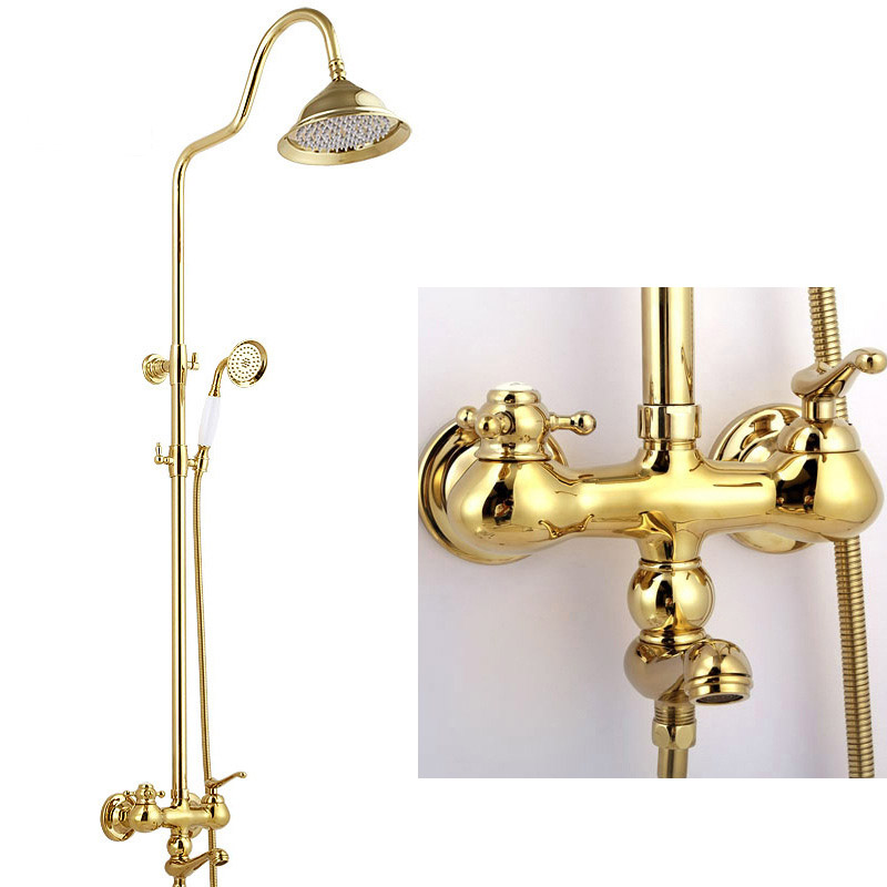 IMPEU Luxury Bathroom Rain Shower Combo Set, Three Function Gold Shower System, Handheld Showerhead, Hot Cold MixerIMPEU Luxury Bathroom Rain Shower Combo Set, Three Function Gold Shower System, Handheld Showerhead, Hot Cold Mixer