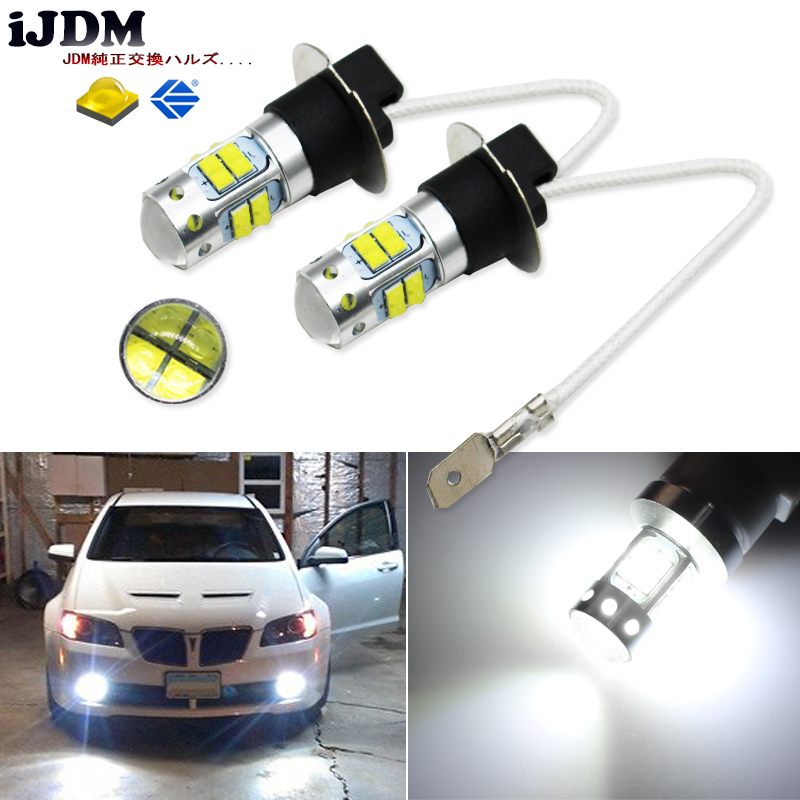 iJDM HID Xenon White 20-SMD XB-D H3 LED Replacement Bulbs For Car Fog Lights, Daytime Running Lights, DRL Lamps,h3 led 12V ijdm hid white 15 smd 3535 powered 3157 t25 led bulbs for daytime running lights drl for 2011 and up jeep grand cherokee 6000k
