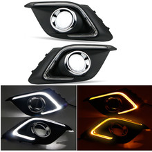 For Mazda 3 axela 2014 2015 Turn Signal Light and Dimming Style Relay 12V LED car DRL Daytime Running Lights With Fog Lamp Hole