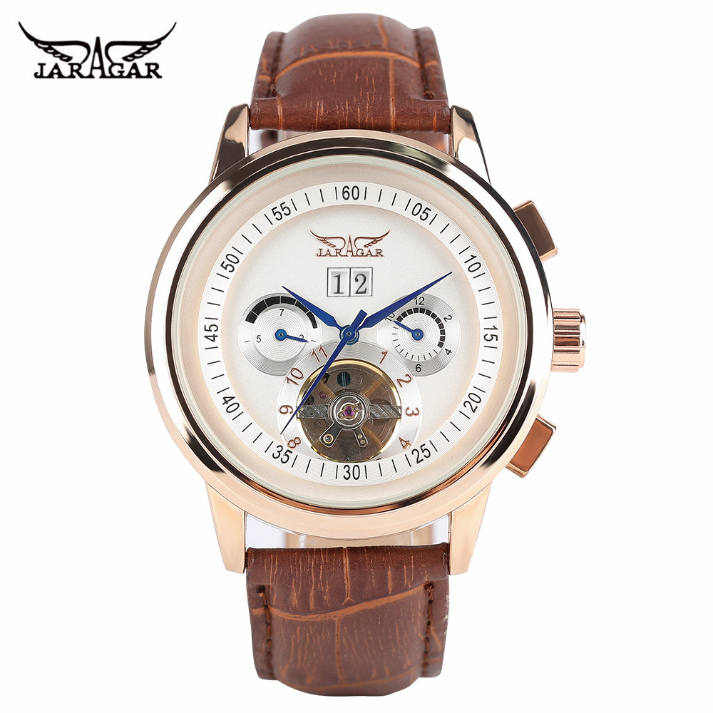 JARAGAR Luxury Brand Men Watches Self-Wind Mechanical Business Wrist Watch Tourbillon Day Display 3ATM Waterproof Clock 2017 New forsining tourbillon designer month day date display men watch luxury brand automatic men big face watches gold watch men clock