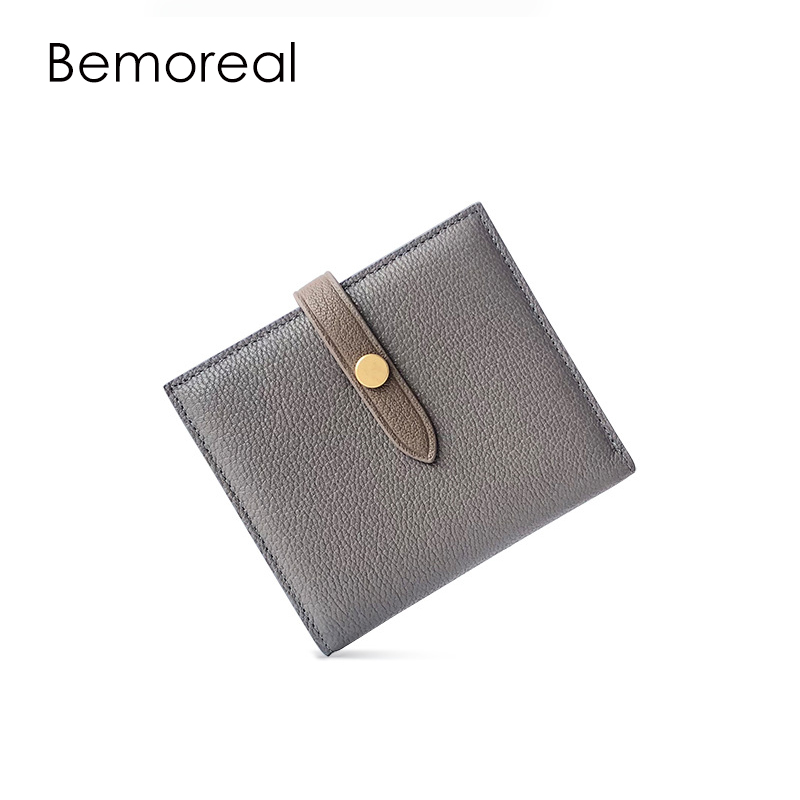 Bemoreal wallet women Genuine leather solid female Sheepskin ID card holder hasp wallet ladies luxury brand