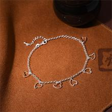 Foot Beach Jewelry Silver Plated with Heart Shaped Dangle Ankle Bracelet Chain Foot Chain for Women Summer Style