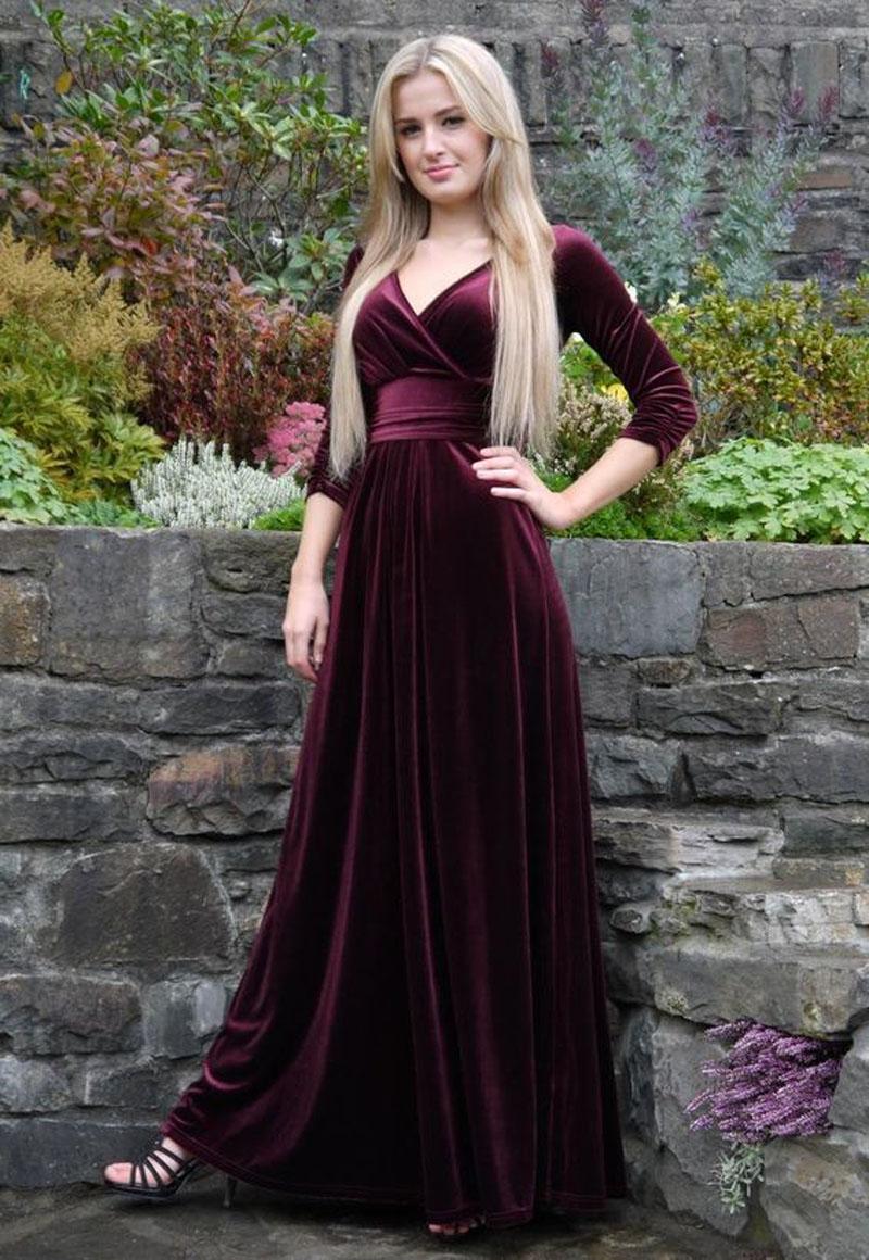Burgundy Long Sleeve Evening Dresses Modest Velvet Pleat V -4827