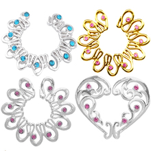 2PCS Gold/Silver Color Fake Piercing Heart Round Crystal Clip