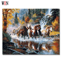 Horses Crossing River Home Decor DIY Cool Painting By Numbers Nice Gift Coloring By Number Picture