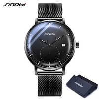SINOBI Mens Creative Watches Men Black Stainless steel Quartz Watches Top Brand Luxury Business Wristwatches Relogio Masculino