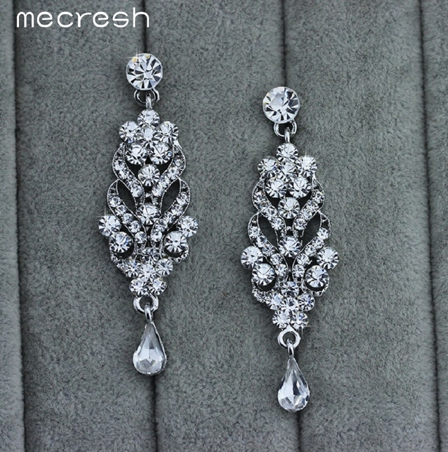 Luxurious Teardrop Crystal Necklace & Earrings Bridal Jewellery Set