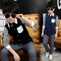 summer spring autumn child clothing children clothes patchwork shirt boys shirt baby long sleeve striped shirt