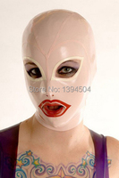 Sexy Women Latex Hoods Latex Mask Open Eyes Mouth Monochrome Latex Common Hood Female White Hoods