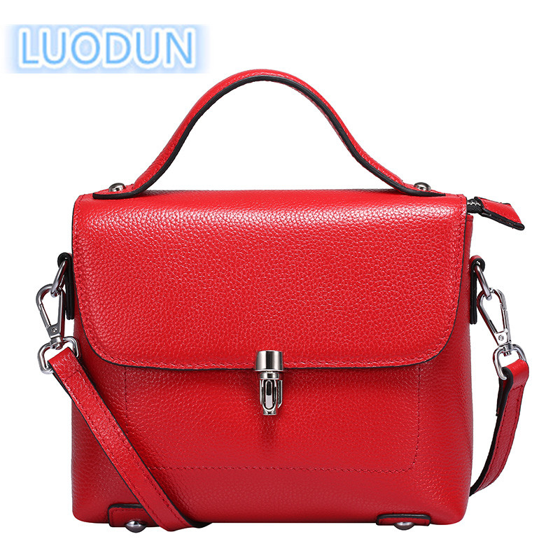 LUODUN 2018 fashion front new spring and summer leather handbags first layer leather shoulder Messenger bag small square package bag female new genuine leather handbags first layer of leather shoulder bag korean zipper small square bag mobile messenger bags