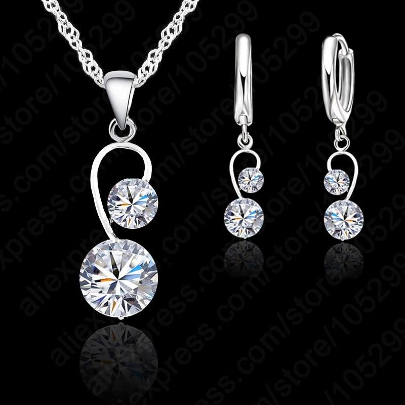 e7da1d27f0df JEXXI bien puro colgante de plata de ley 925 collar + palanca pendiente  conjuntos dos blanco Zircon de cristal conjunto de joyas para novias