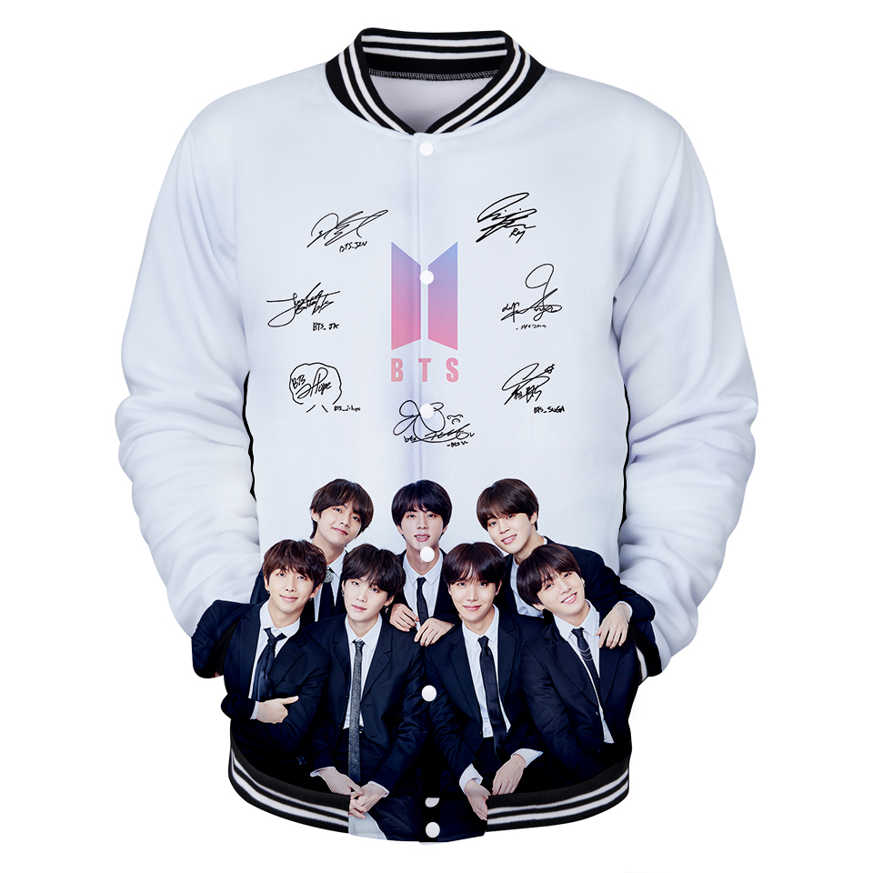 3D BTS Kpop Baseball Jacket Men Popular Bangtan Hip Hop Harajuku Hoodies Harajuku Kawaii Kpop Clothes Hoodie Women/men 4XL