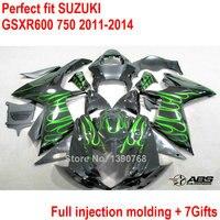 Для Suzuki обтекатель комплект GSXR 600 GSXR750, 11, 12, 13, 14, зеленое пламя черное Обтекатели GSXR600 750 2011 2014 инжекционного метода литья