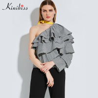 Kinikiss Female Blouse Black Plaid Skew Collar Flare Sleeve Shirt Spring 2017 Lace Up Summer Women