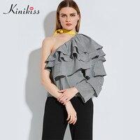 Kinikiss Female Blouse Black Plaid Skew Collar Flare Sleeve Shirt Spring 2017 Lace Up Summer Women