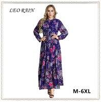 6xl 5xl 4xl Plus Size Long Sleeve Floral Maxi Dresses Elegant Women 2017 Autumn Print Chiffon