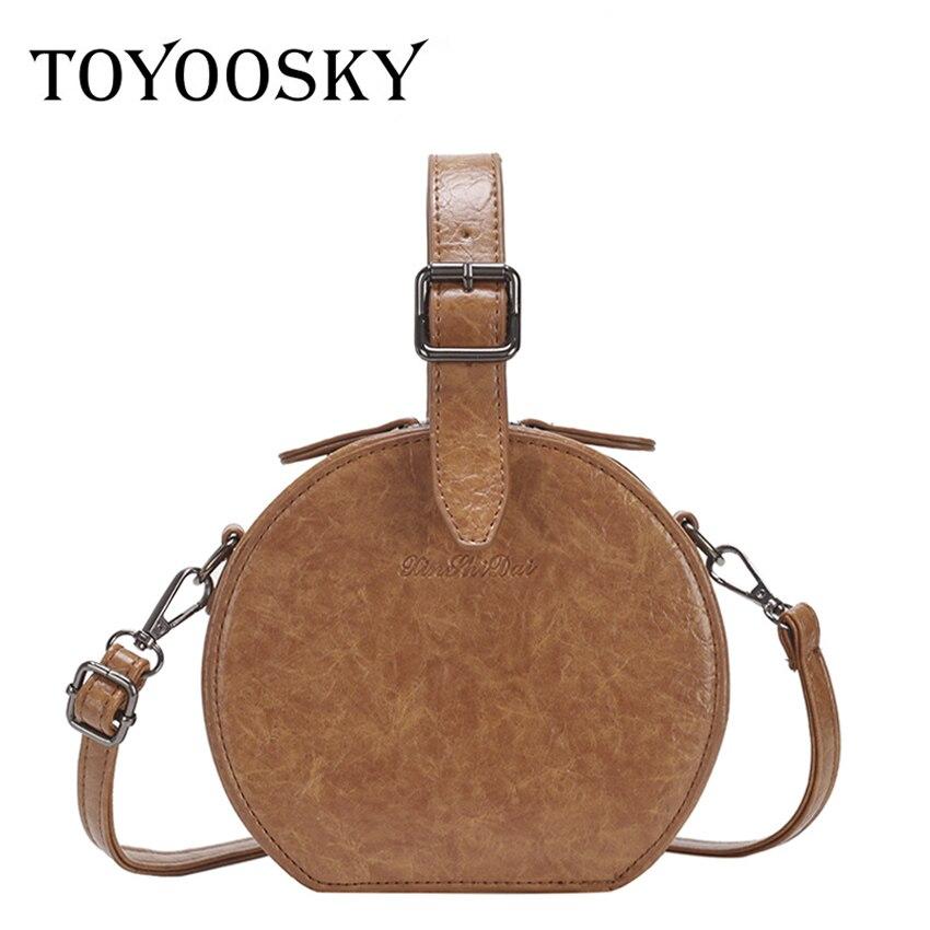 TOYOOSKY Casual Round Women Bag Circular Female Handbags Small Crossbody Bag High Quality Retro PU Leather Shoulder Bag все цены