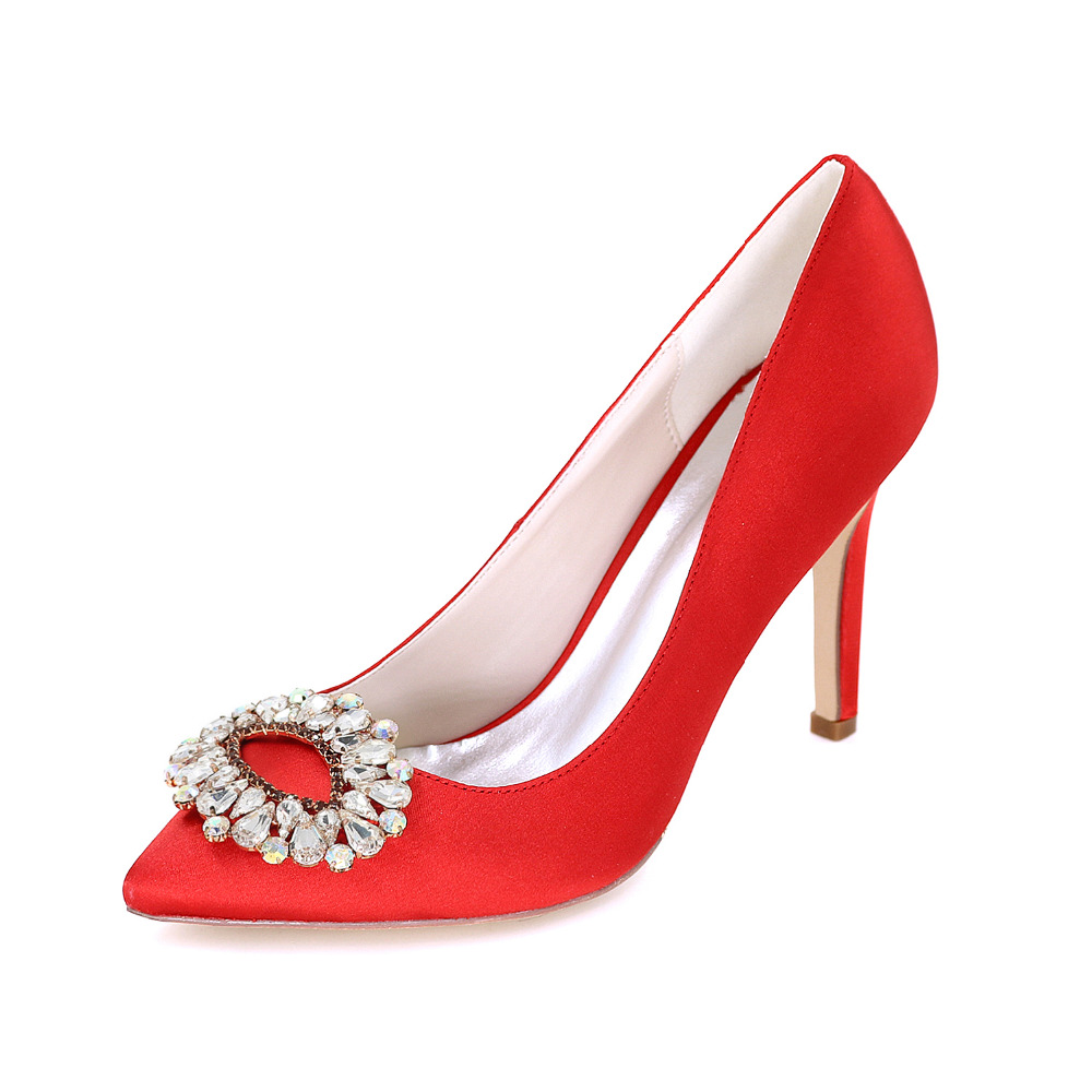 Only 1 pairs - Elegant lady s satin evening dress shoes colorful crystal  brooch high heels bridal a13caa78cb00