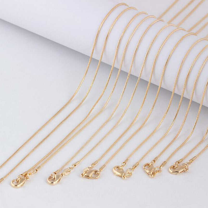 DIY Snake Chains Clasp Necklace Gold 1mm Women Jewelry Making Craft 16-30 Inch