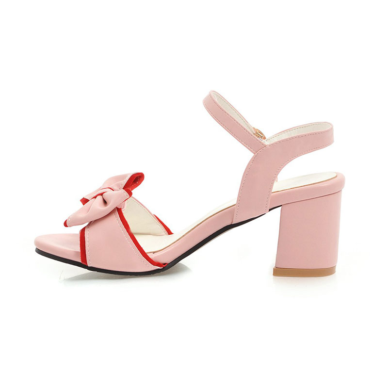 Karinluna Big Size 34-43 Womens Summer Bow Tie Knot Shoes Woman Ankle Strap Chunky Heel Open Toe Sandals 2018