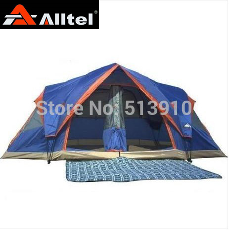 Send picnic mat!Alltel Fully automatic Two hall 6-8 person double layer camping tent/against big rain large family tent new arrival fully automatic two hall 6 8 person double layer camping tent against big rain large family outdoor tent 190cm high