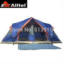 Envoyer pique-nique tapis! alltel entièrement automatique deux salle 6-8 personne double couche camping tente/contre grand pluie grande famille tente