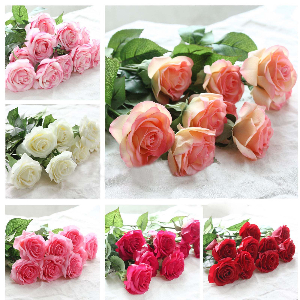 10 unids / set Rose Flores Artificiales flores de la boda Ramo de Novia Látex Real Touch Rose Bouquet de Boda Home Party Flores