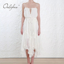 White Dress Asymmetrical Maxi-Tunic Ordifree Long Sexy Summer Women Lace Strap