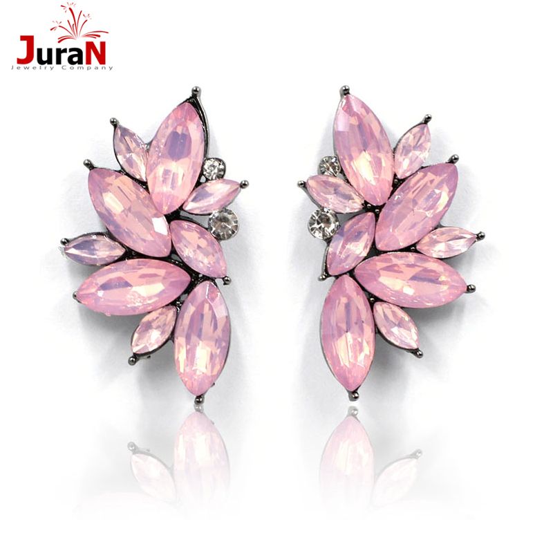 JURAN 2017 New Arrival Fashion Gem Crystal Leaf Stud Earrings For Women Fashion Brand Party Earings Jewelry Popular Gift E2205