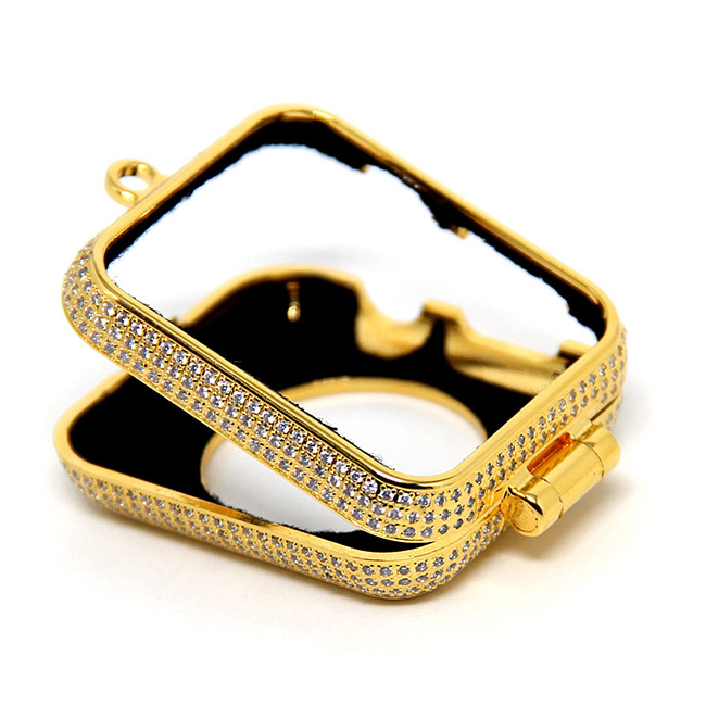 Di lusso di bling diamanti di strass incrostato 24kt carati placcato oro gioielli collana della vigilanza della copertura di caso per Apple osservare series1 & 2 e 3 - 2