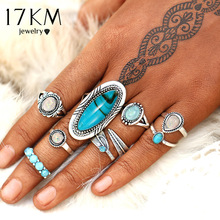 17KM Vintage Geometrisk Stone Opal Ringer Set For Woman Bohemian Antique Silver Color Knuckle Skjold Ringer Mote Party Smykker