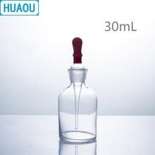 HUAOU 30 мл капельная бутылка прозрачное стекло с заземлением в пипетке и латексной резины ниппель лабораторное химическое оборудование