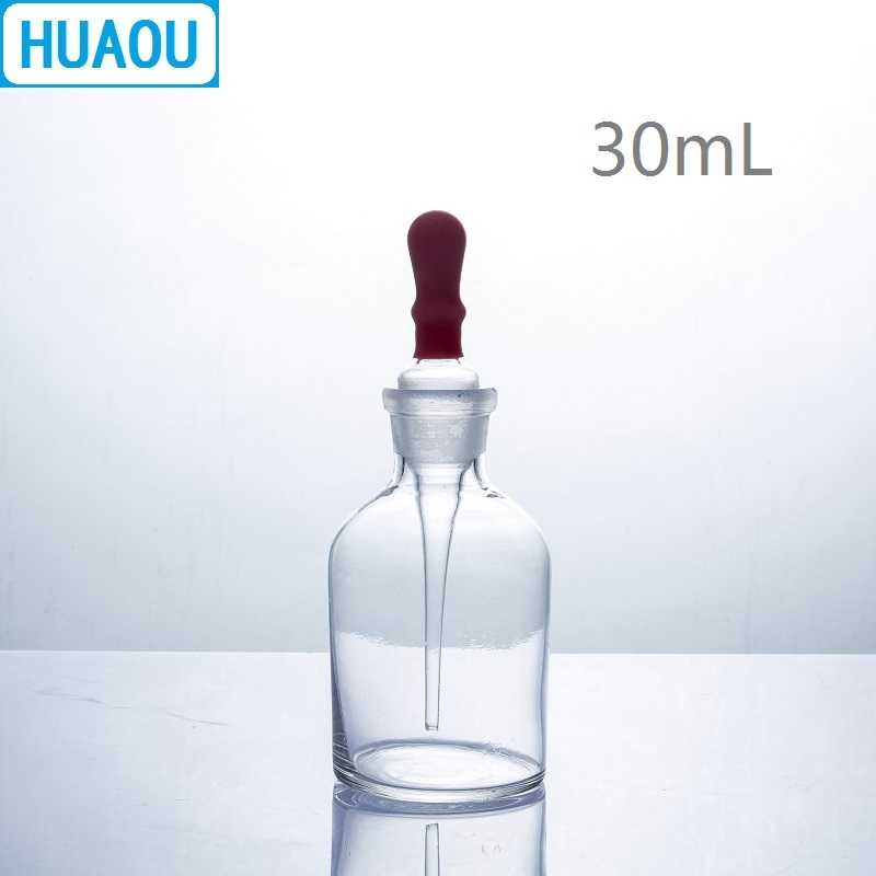 HUAOU 30mL Dropping Bottle Clear Glass With Ground In Pipette And Latex Rubber Nipple Laboratory Chemistry Equipment
