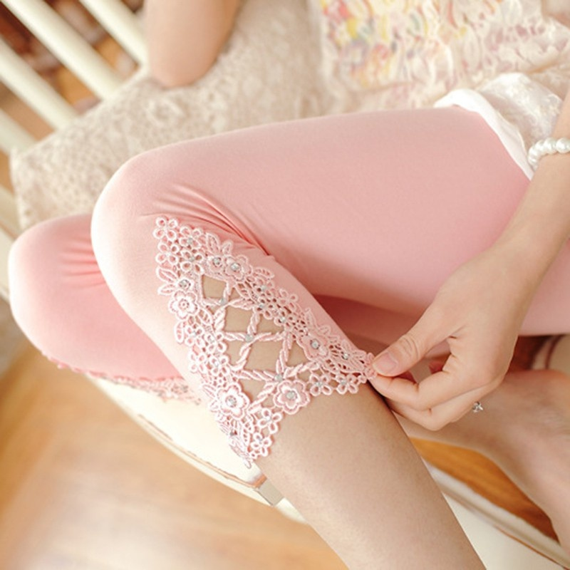 Women Summer Hollow Lace Stretch   Leggings   Thin Sports Fitness Skinny AIC88