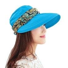 2017 Summer Hats For Women Chapeu Feminino New Fashion Outdoors Visors Cap Sun Collapsible Anti-Uv Hat 6Colors