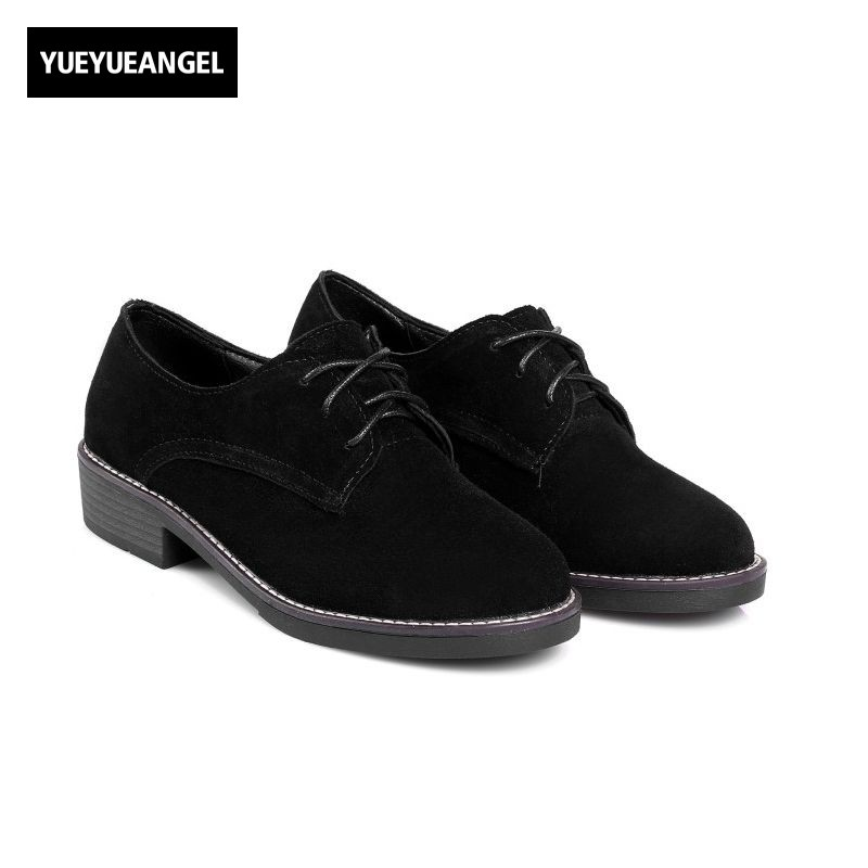 2018 Autumn New Retro Casual Shoes Woman Low Block Heel Lace Up Pumps Classic Comfort Zapatos Mujer School Footwear Suede Shoes new brand black white vintage women footwear lace up casual oxford flat shoes woman british style breathable zapatos mujer