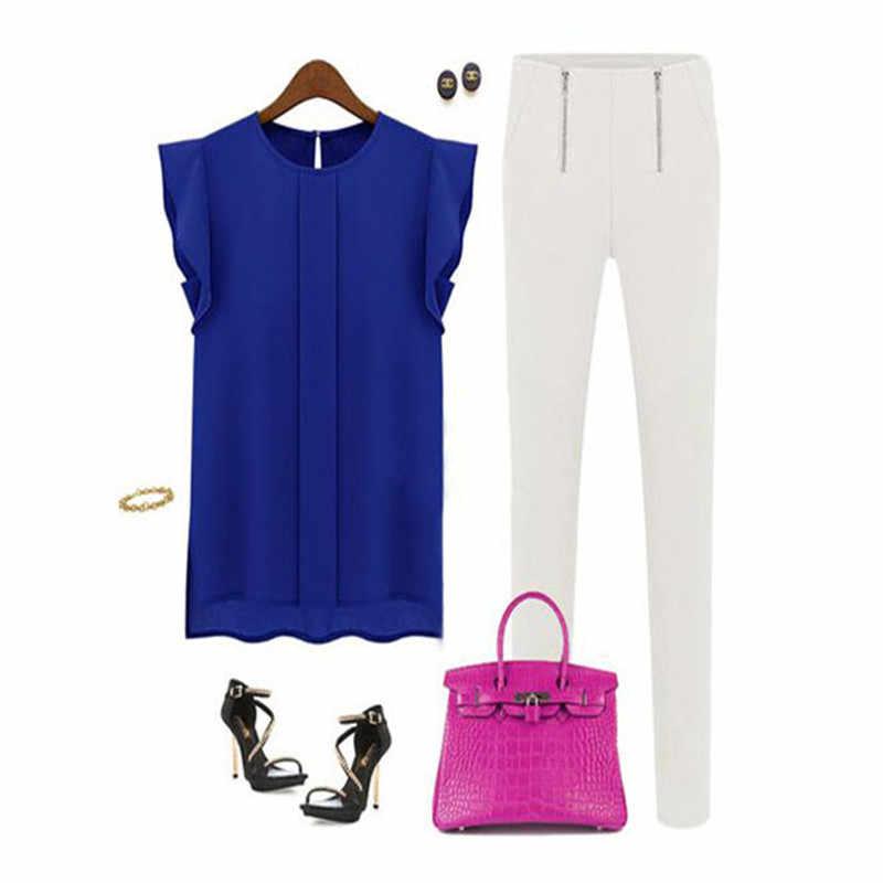 カジュアル夏のシフォンブラウス女性ルースノースリーブベスト Pactwork 白ピンク O ネックトップスオフィスの女性ブラウスシャツ #35