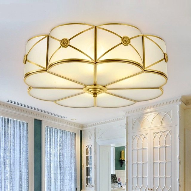 Contemporary And Contracted Ceiling Light Sitting Room Led Copper Dome In The Kitchen Zl320