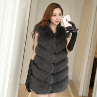 Women's Genuine Fox Fur Vests For Women Fashion Furs Jackets Coat Ladies Blue Fox Fur Vests Wholesale