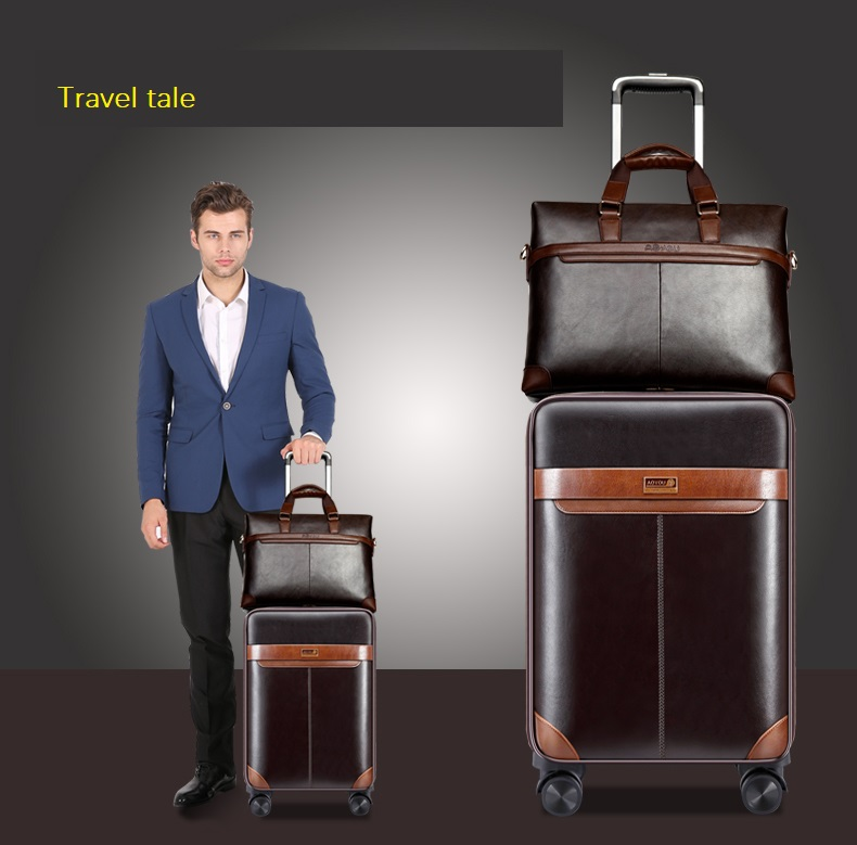Travel Tale Business Leisure 16/18/20/22/24 Inch Handbag+Rolling Luggage Advanced Material Travel Suitcase