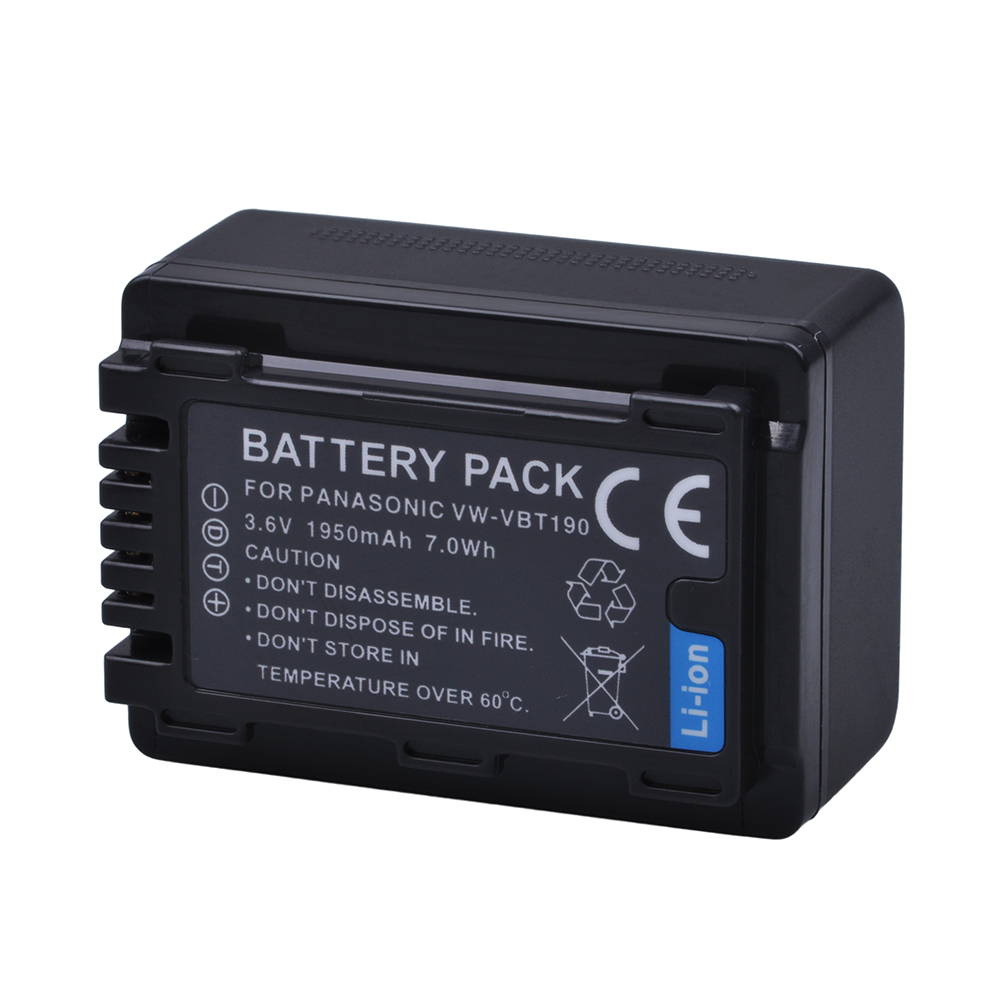 1Pcs 1950mAh VW-VBT380 VBT380 VW-VBT19 VBT190 Battery for Panasonic HC-V270, HC-V380, HC-V510, HC-V520, HC-V550, HC-V700, HC-V71 tectra 2pcs vw vbt190 vbt190 li ion battery usb 2 channel charger for panasonic hc v110 hc v130 hc v160 hc v180 hc v201 hc v210