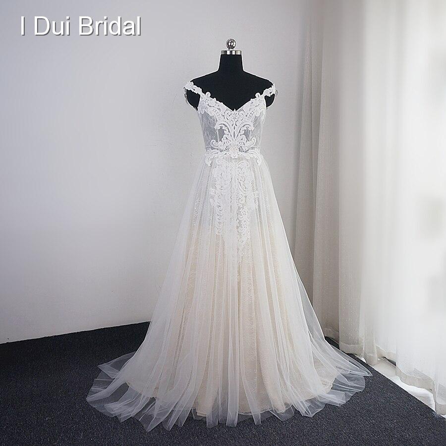 Off Shoulder Strap Wedding Dress A Line Boho Chic Lace Appliqued Beaded Bridal Gown