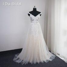 I DUI Bridal Off Shoulder Strap Wedding Dress A Line Boho